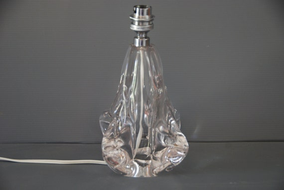 pied de lampe en cristal sign jb france avec par myvintageprovence. Black Bedroom Furniture Sets. Home Design Ideas