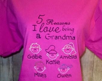Personalized grandma/nana/mom shirt