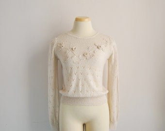 Floral Lace Sweater From The 80s