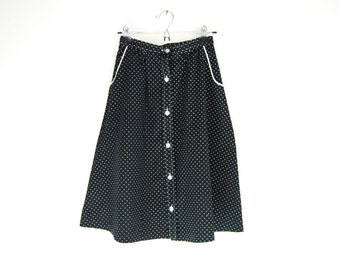 Black And White Polka Dot Button Down Skirt, Vintage 70s A-Line Skirt, Rockabilly Skirt
