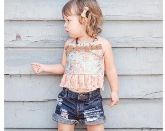 "The ""Farmer's Daughter"" Distressed Denim Shorts, Infant/Toddler (dark wash)"