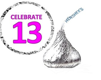 13th (Thirteenth) Happy Birthday Party Favor Hershey's Kisses Stickers / Labels -216ct