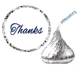 Thanks Party Favor Hershey's Kisses Stickers / Labels -216ct  Black