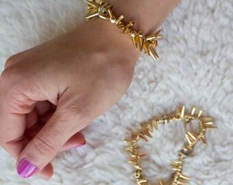 Gold Spike Bracelet, Spike Bracelet, Statement Bracelet, Stacked Bracelet