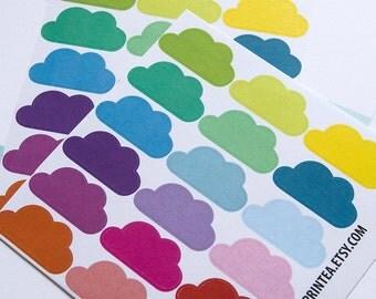 36 solid cloud stickers, planner stickers, scrapbook sticker, reminder checklist sticker, cloud label eclp filofax happy planner kikkik