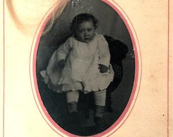 Vintage portrait tintype of baby Estelle 'Star' Hodges