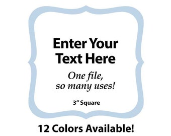 """EDITABLE Printable 3"""" BLUE SCROLL Square - Address Labels, Business Cards, Price Tags, Gift Tags & more - Change the text again and again"""
