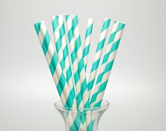 25 Aqua Stripe Paper Straws - Aqua Paper Straws - Aqua Party Straws - Aqua Drinking Straws - Stripe Paper Straw