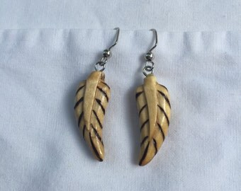 Hand Carved Wood Feather Earrings