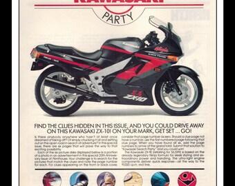 "Vintage Print Ad September 1989 : Kawasaki Motorcycle Wall Art Decor 8.5"" x 11"" Print Advertisement"