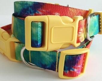 Adjustable Dog Collar with (optional) Matching Leash - Tie Dye Dog Collar - Girl or Boy Dog Collar - Colorful Dog Collar