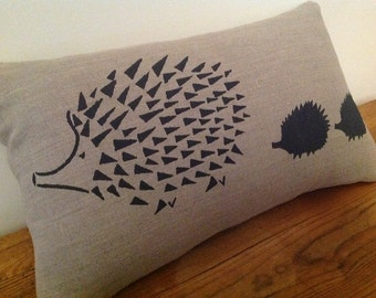 Cushion Cover / Decorative Pillow, Hand Screen Printed, Black Hedgehog and Babies on Linen, Taupe, Australian Made