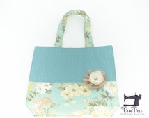 Canvas Tote Bag - Small White Flowers on Sky Blue