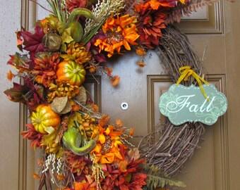 Fall Thanksgiving Grapevine Wreath, Fall Floral Grapevine Wreath