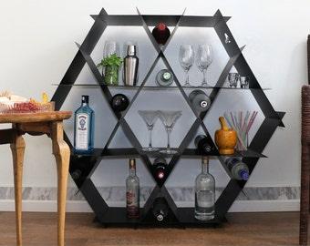 Home Bar, Bottle Display, Black Living Room Furniture, Bottle Shelf, Liquor Shelf, Man Cave, Liquor Rack, Standing Shelf, Liquor Shelf