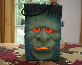 ceramic Halloween lighted Frankenstein monster Bag