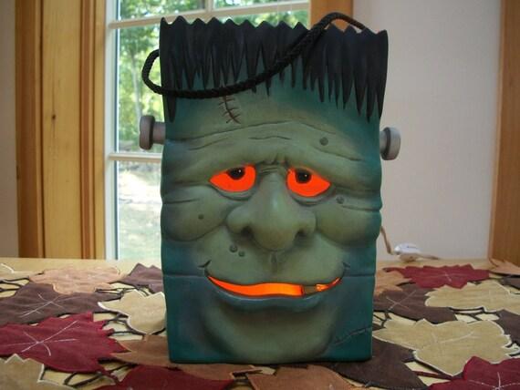 ceramic Halloween lighted Frankenstein monster Bag