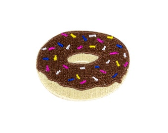 Donut Emoji Embroidered Iron On Patch - FREE SHIPPING