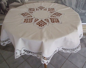 Beautiful Vintage 60s French Hand made Lace Cream Tablecloth/ Lovely Cottage Home Tablecloth/ Vintage Round Handmade Tablecloth