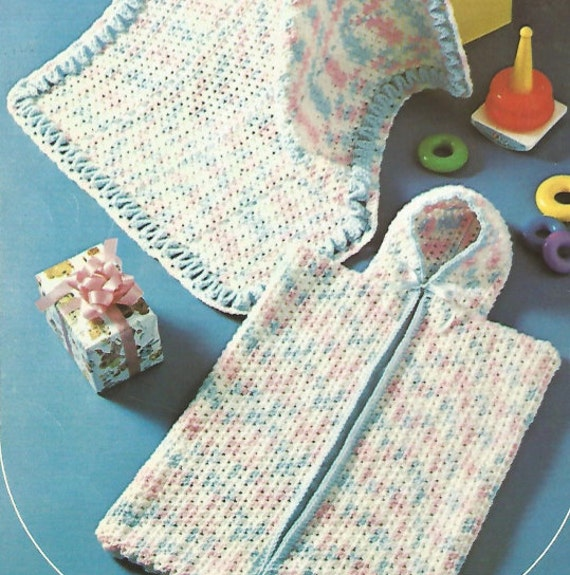 Crochet Beaded Bag Pattern : Crochet Baby Bunting Bag and Cover Vintage Pattern newborn