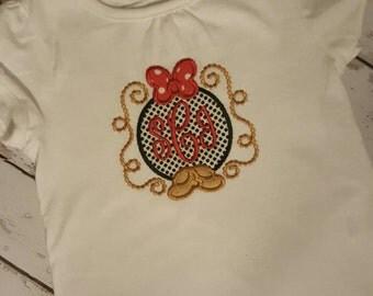 Minnie monogrammed Disney shirt.
