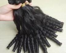 Thick naked Nigeria Bouncy Spring Curly  human hair Virgin Hair Bundle 3pcs Virgin Hair Extension hair weave hair weft Free Shipping