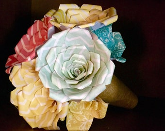 Colorful Rustic Paper Flower Wedding Bouquet! (hand made)