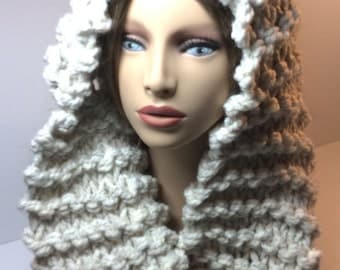 Hooded Mobius Scarf - Oatmeal Tweed - Hand Knit - Wood/Acrylic Blend