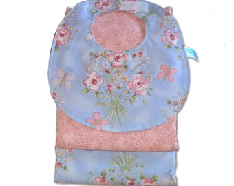 Sky Blue and Roses Dribble Bib and Two Burp Cloths Set