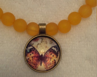 Orange Beaded Butterfly Pendant Necklace  (#420)