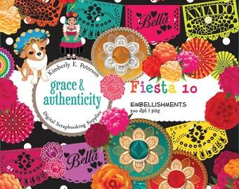 Fiesta Themed Digital Scrapbook Embellishments - 36 Embellishments