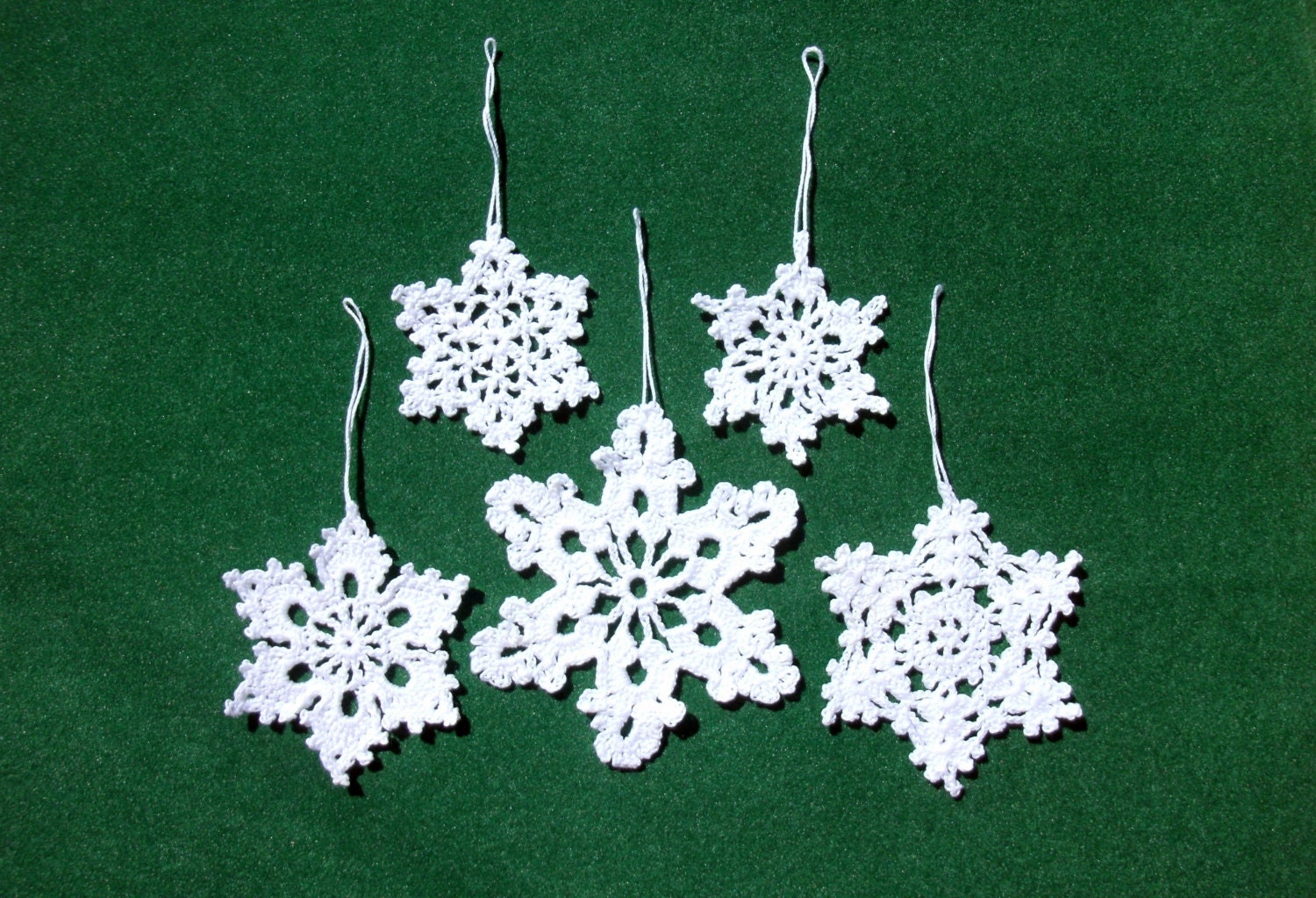 Crochet Snowflakes Christmas Tree Ornaments 5 By CrochetedCosiness