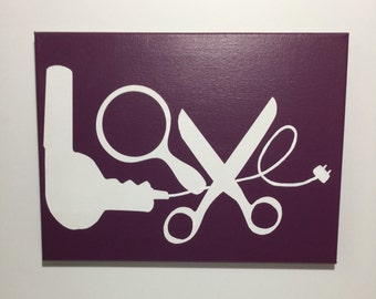 Painted canvas sign - hairstylist decor