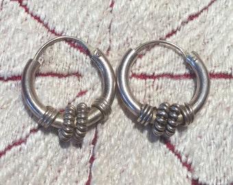 Sterling Silver Earrings...Sterling Silver Hoops...Handmade Vintage Earrings...Ethnic...Hippy...Gypsy...LV95