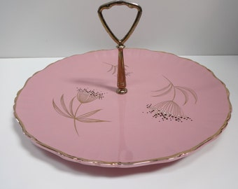 Cake Plate, Pink Cake Plate, Pink, Gold and Black Cake Plate, English Cake Plate, Old Foley Cake Plate, Mid Modern Retro Cake Plate