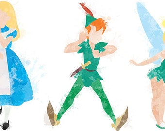 Disney Characters - Water colour style