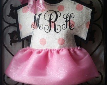 Baby Announcement Onesie with Tutu  Burlap Door Hanger or Nursery  Decoration