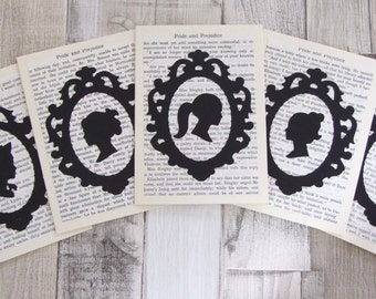 Reclaimed Novel Silhouette Notelet Cards, Greeting Card, Gift Card - Jane Austen - Set of 5