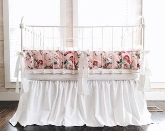 Floral Crib Bedding Set - Girl Crib Bedding Set - Girl Baby Bedding - Farmhouse Garden Collection 100% Washed Cotton Nursery Bedding
