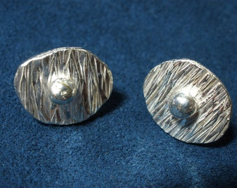 Sterling Silver Textured Shape with Silver Ball