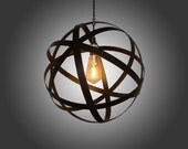 LED Rustic Espresso Strapped Metal Pendant Light with LED Edison Bulb