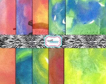 """Water Color Religious Collection//300 DPI// 10 Digital Scrapbook Sheets- Sized 8.5"""" by 11""""// jpeg"""