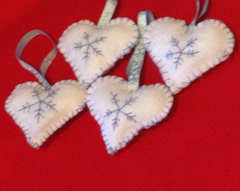 Embroidered snowflake hearts