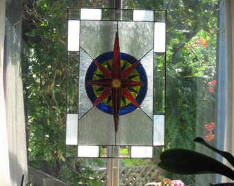 Stained Glass Mariners Compass Hanging Panel