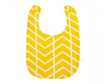Baby Bib - Yellow Chevrons