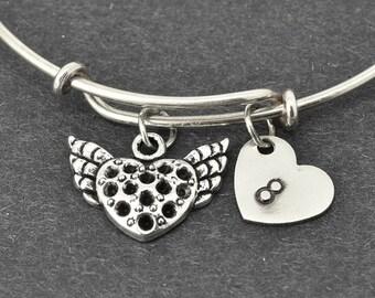 Heart Bangle, Flying Heart, Sterling Silver Bangle, Heart Bracelet, Bridesmaid Gift, Personalized Bracelet, Charm Bangle, Initial Bracelet