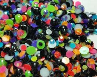 Flatback Resin Rhinestones Pearl Neon Mix US Seller