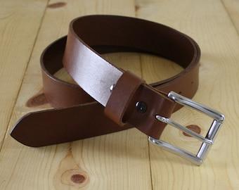 "1.25"" Handmade Bullhide Leather Belt_Dress Casual Belt_Stainless Steel Roller Buckle_Black Brown Dark Brown"