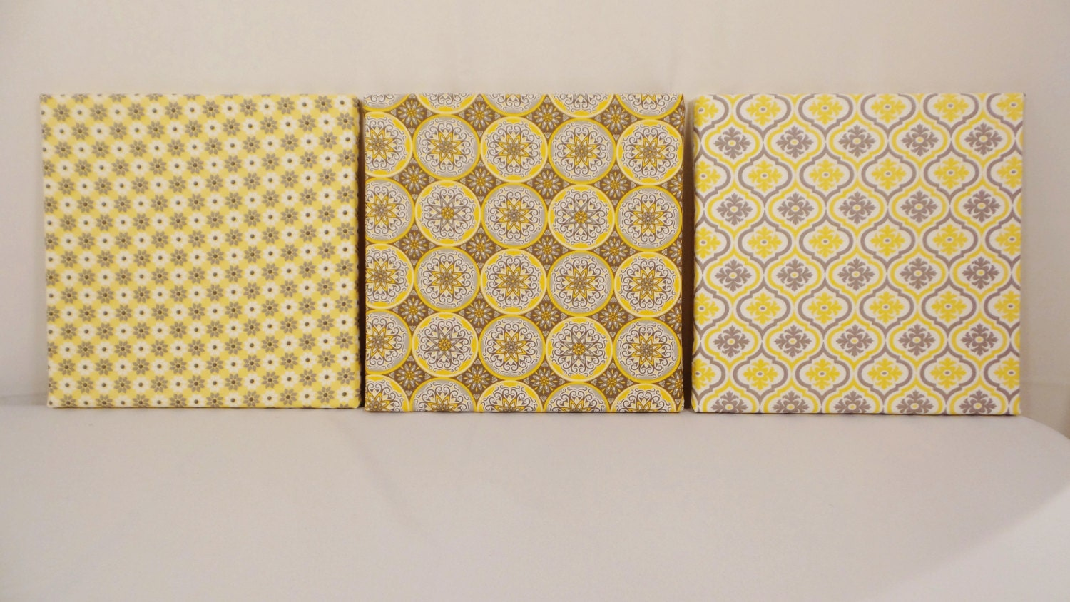 Set of 3 canvas wall art fabric wall art wall decor by for Fabric wall art