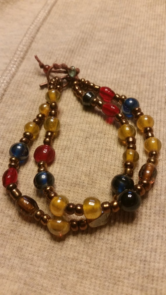 multi colored beaded dual stand bracelet by laketassearts
